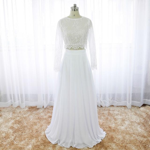 White Boho Wedding Dress Two Piece Lace Long Sleeve Cheap Summer Beach Bridal Gowns Bohemian Chiffon