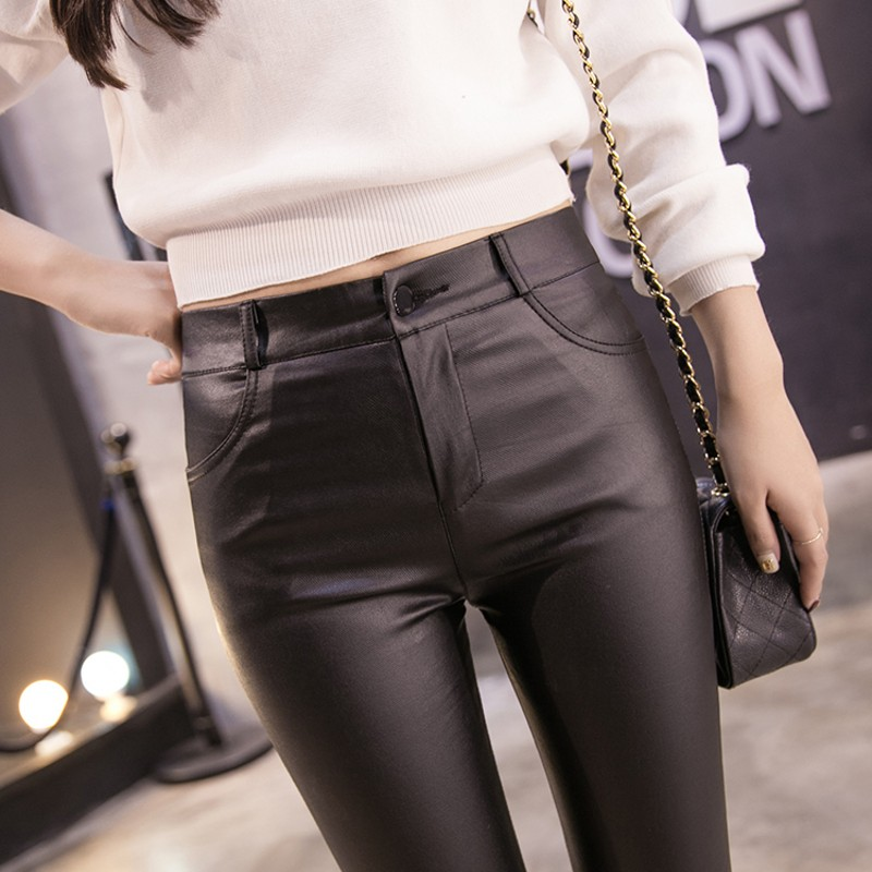 2019 Autumn Women's Leather Pants Women Female Tight High Waisted Pants Leather Trousers Women PU Skinny Stretch Pencil Pantalon