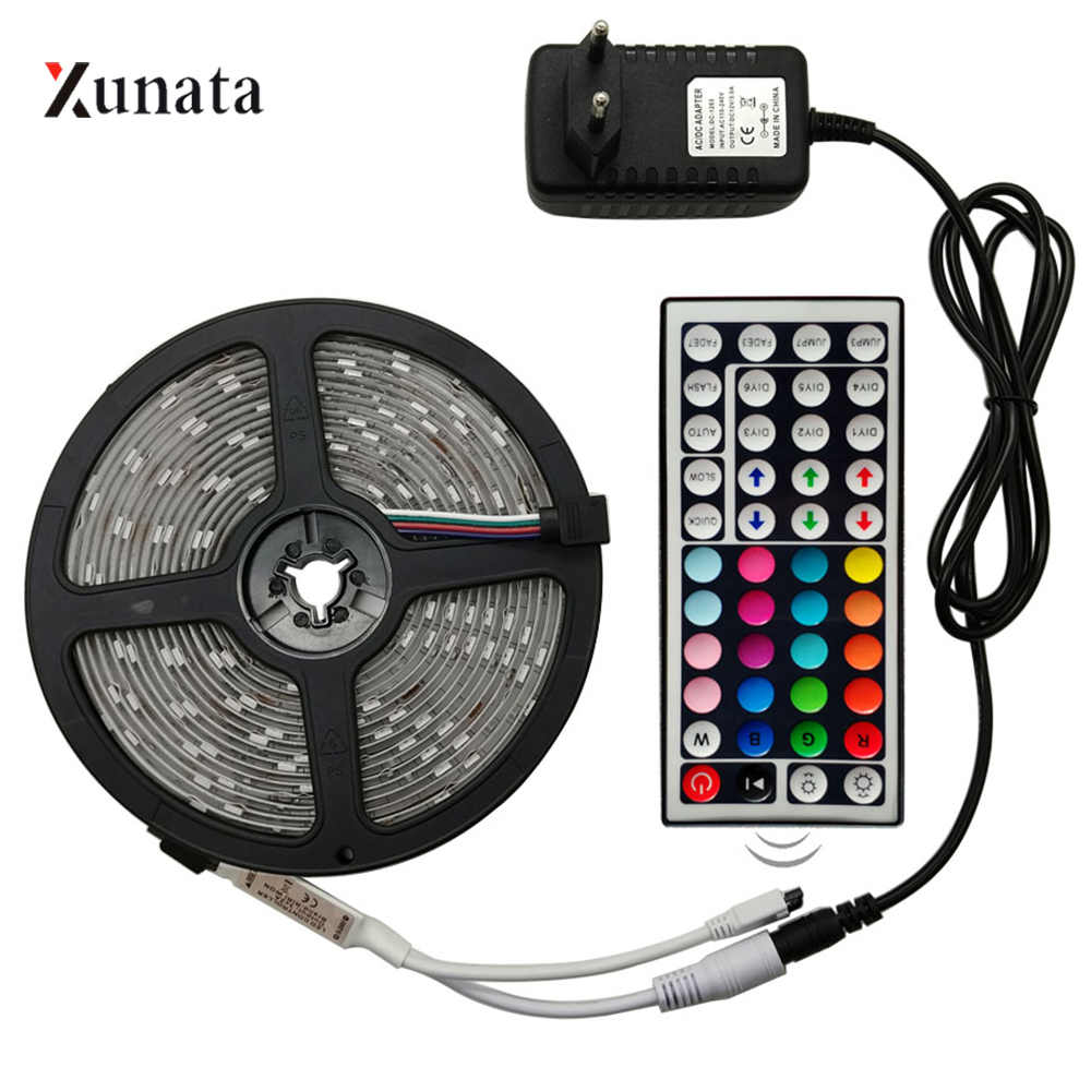 5m 12V SMD2835 LED Strip 60Leds/m RGB with 44Key Controller and EU Plug Adapter Flexible LED Ribbon Waterproof LED Tape for Deco