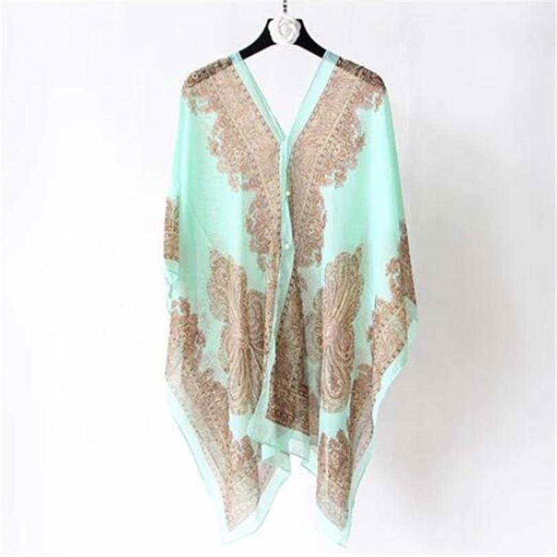 VISNXGI Fashion Floral Chiffon Blouses Women Spring Summer Style Beachwear Cover Up Elegant Flower Print Chiffon Loose Shirt 21