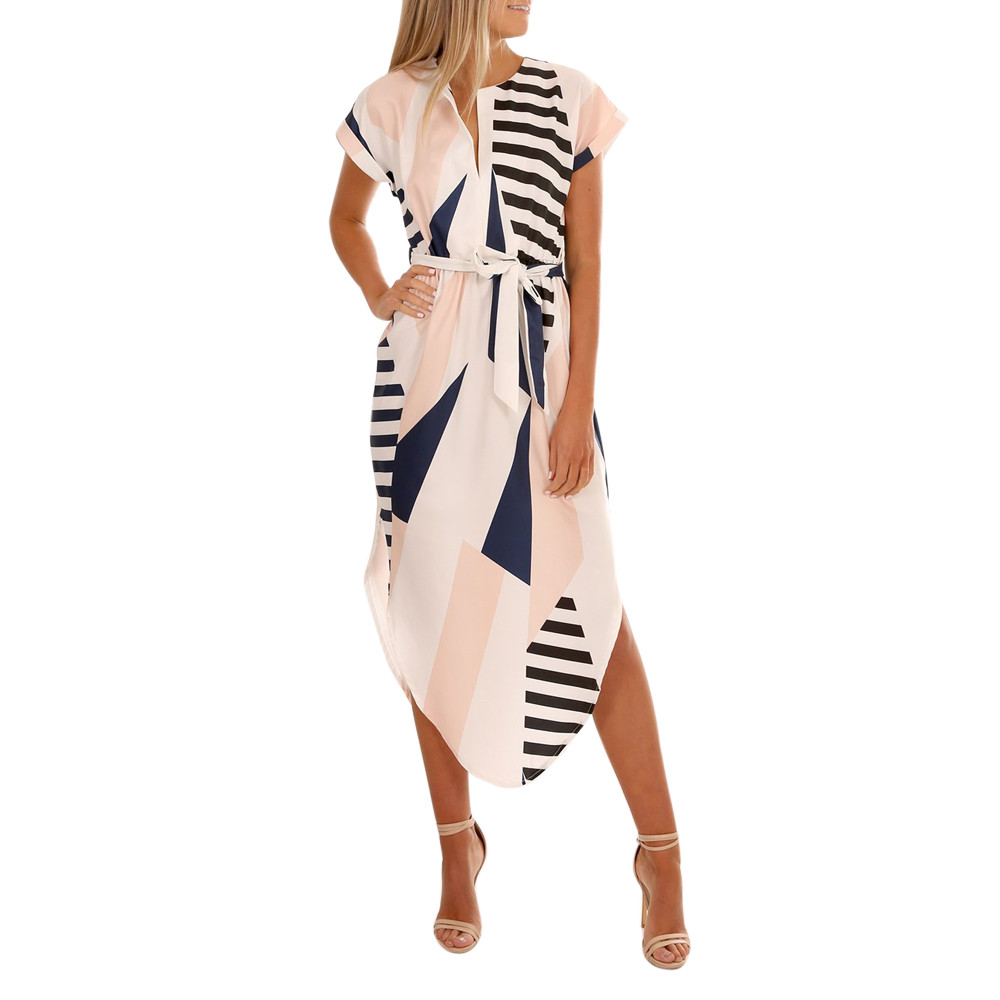 New Fashion Spring Women Casual Short Sleeve V Neck Printed Maxi Dress With Belt Women Dresses