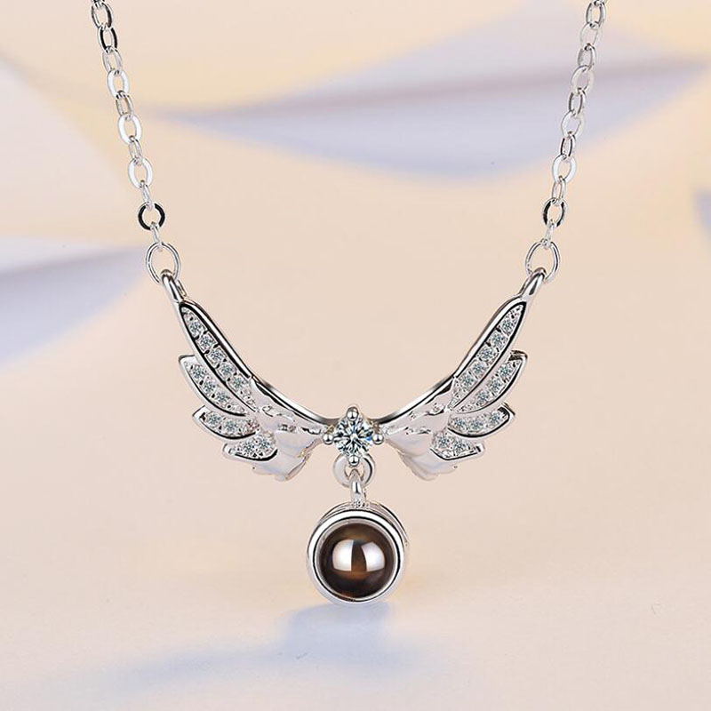 2019 Hot 925 Sterling Silver Necklace For Women Crystal 100 languages I love you Projection Wing Necklace Girl Fashion Jewelry