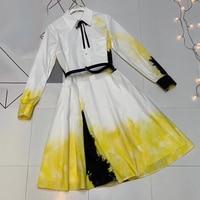 2019 Luxury Women Dress European Designer Brand Luxury Women Dress Yellow Dress with Sleeve Elegant
