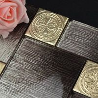 low key luxury gold foil with black crystal glass mixed stainless steel mosaic tiles for kitchen backsplash decoration