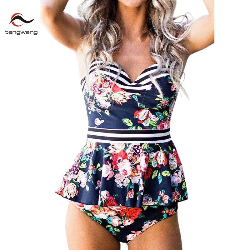Tengweng 2020 Vintage Striped Floral Push Up Ruffle Bikini Print Plus Size XXL Ladies Swimwear Women Swimsuit Bathing Suit