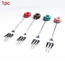 Фруктовые вилки для мороженого совок разноцветный из нержавеющей стали посуда десертная ложка мультфильм Пончик ложки, кухонные принадлежности