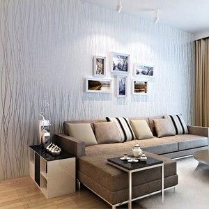 Image 4 - Из нетканого материала модные тонкие стекаются вертикальные полосы обои для Гостиная диван Задний план стены дома обои 3D серый серебристый
