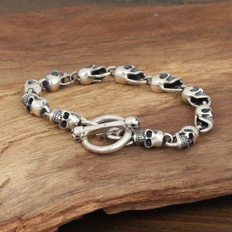 цена на Wholesale S925 Sterling Silver Jewelry Men Fashion Handmade Retro Thai Silver Skeleton Trumpet Bracelet