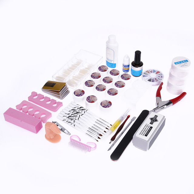 Nail Art Set Tool Knit Gel Crystal Fingernail 12 Color List Nail Art
