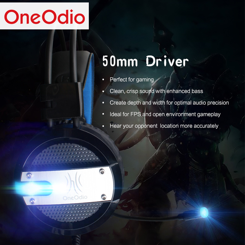 Oneodio 3.5mm Auricolare Gaming Headset Gamer Cuffie PC Gamer Cuffie Stereo Con Microfono Led Per PC Computer PS4 XBOX