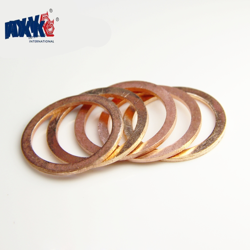 AXK DIN7603 M4 M5 M6 M8 M10 M12 M13 M14 M16 M17 M18 M20 M22 M24 M26 Boat Red Brass Copper Crush Sealing Washer Flat Seal Gasket m6 m6 12 0 8 m6x12x0 8 m6 12 1 m6x12x1 din7603 insulation gasket shim crush ring seal red steel paper washer