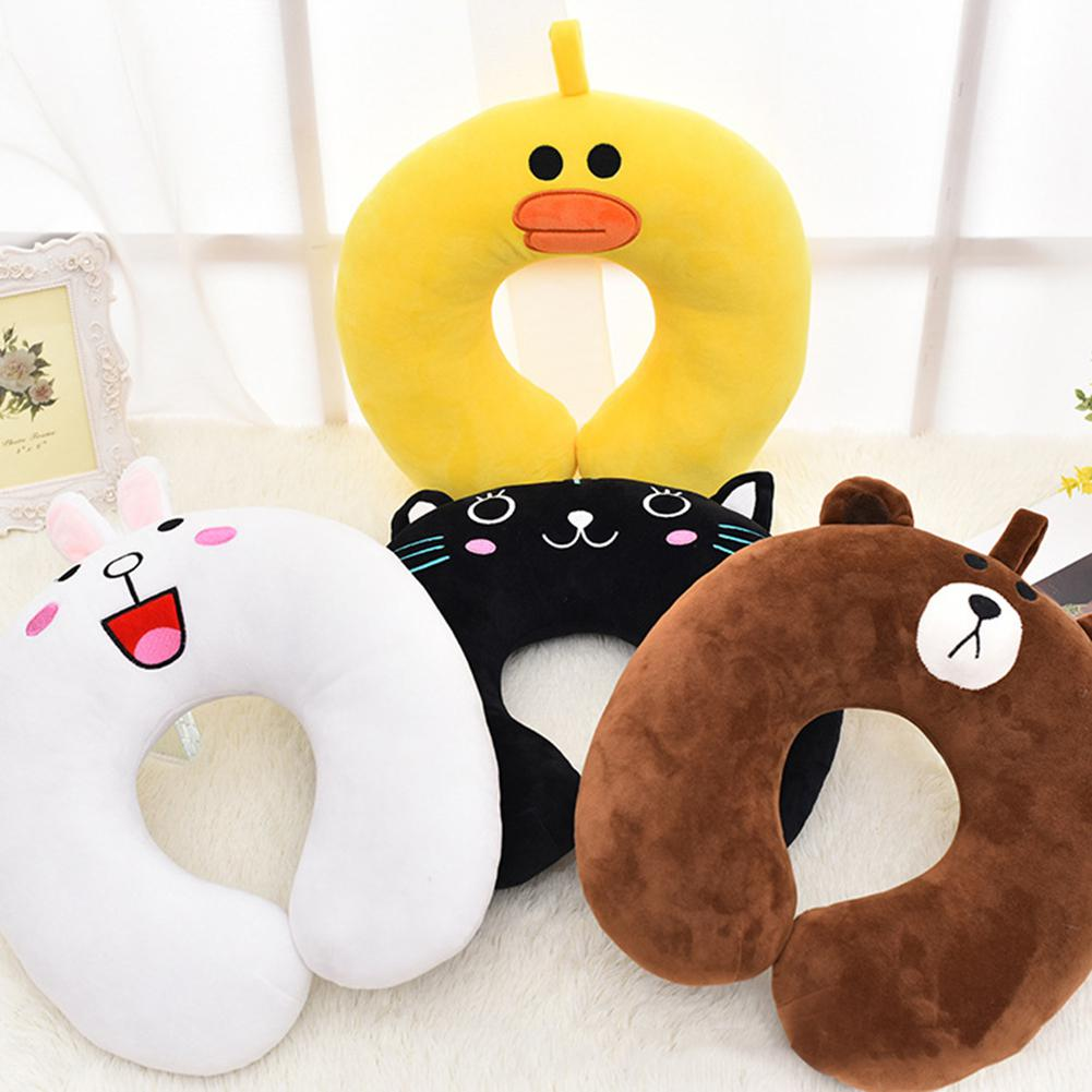 New U Shaped Cartoon Animal Neck Pillow Travel for Airplane Inflatable Neck Pillow Car Seat office Airplane sleeping Cushion image
