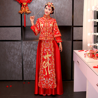Angela baby Same Item Red Cheongsam Dress Long sleeved Kimono Show For Chinese Traditional Wedding Ceremony Bust size 108 cm