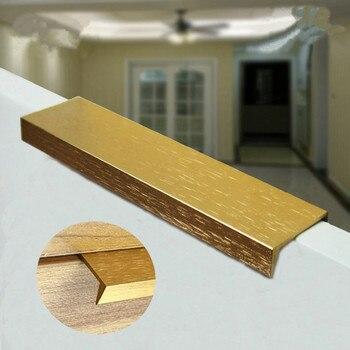 Modern simple stealth cabinet drawer handle hidden aluminum alloy stain golden edge handle 96mm 128mm 160mm brushed golden pulls