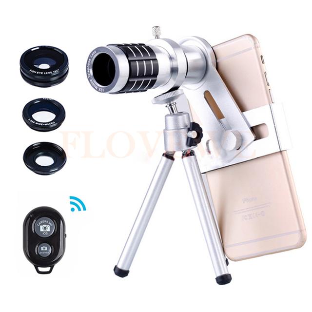 2017 Teléfono Kit de Lentes Telefoto 12x Zoom Telescopio Lente ojo de Pez lentes de gran angular y macro para iphone6 7 samsung con trípode clips