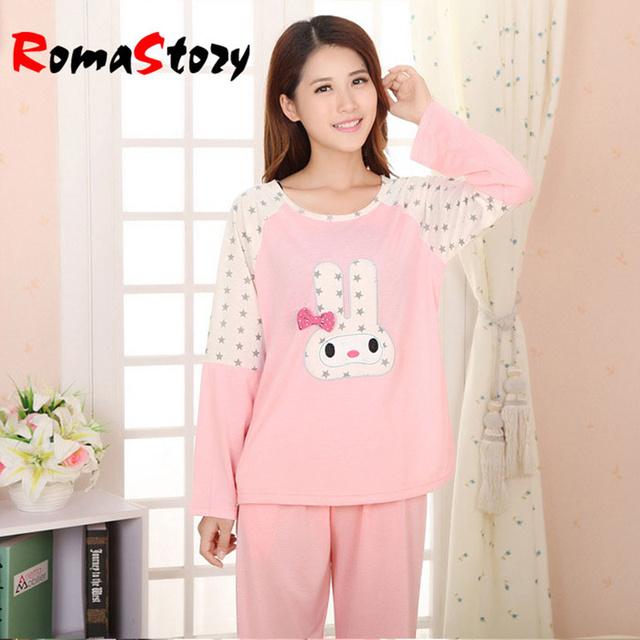 2016 Mulheres nova primavera e outono-de malha de manga comprida calças pijama define pijama sleepwear KT gato dos desenhos animados respirável s2410
