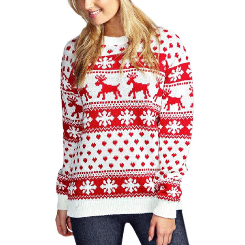Pullover Christmas Elk Pattern Winter Long Sleeve Sweater For Women One Size White Red Ladys Sweater