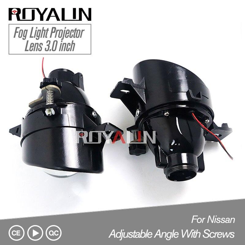 ROYALIN For Nissan Adjustable H11 Fog Lights Lens Bixenon D2S Lamp Projector HID Full Metal Lenses