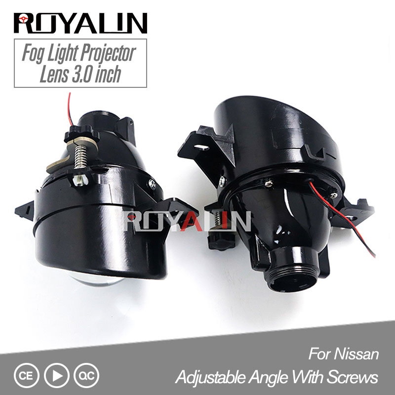 ROYALIN For Nissan Adjustable H11 Fog Lights Lens Bixenon D2S Lamp Projector HID Full Metal Lenses Car Auto D2H Bulbs Retrofit