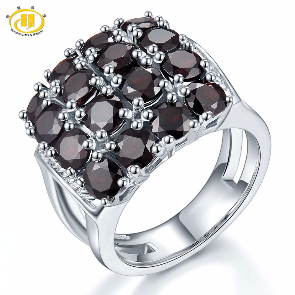 HUTANG Engagement Women's Ring 5.6ct Natural Black Garnet 925 Sterling Silver Cluster Rings Red Gemstone Fine Elegant Jewelry