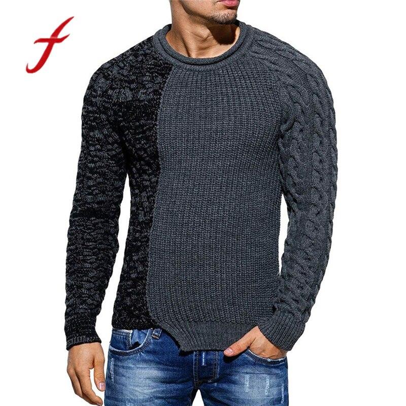 2018 Mode Männer Pullover Herbst Pullover Gestrickte Patchwork Pullover Dunkelgrau Tops Winter Pullover Harajuku Kleidung