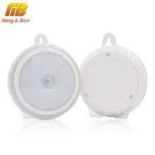 LED Night Light PIR Motion Sensor Round LED Cabinet light Energy Saving Wall Lamp Lighting By USB Charging For Closet
