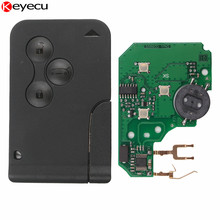 Keyecu Remote Key for Renault Megane Smart Card 3 Button 433Mhz ID46 Chip with Insert Small key blade