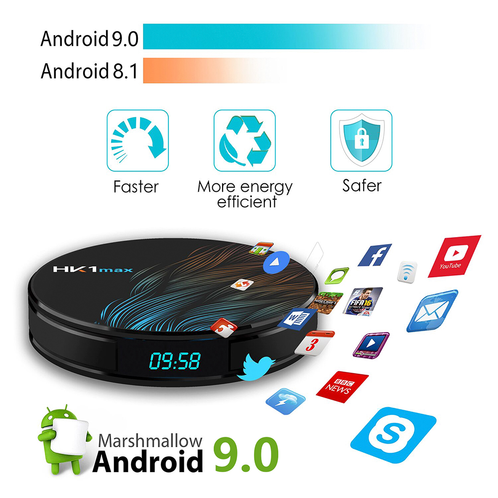 HK1 MAX Mini Android 9.0 Smart TV Box RK3328 2G+16G Dual Wireless WiFi 3D 4K Network Media Player Player Play Store Set-top Box