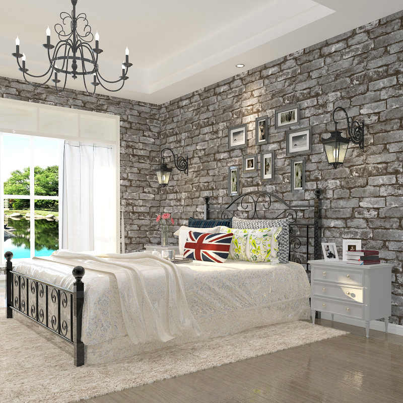 Grey Brick Wallpaper Roll 3d Effect Rustic Imatation Old Brick Wall Paper Home Decor For Living Room Bedroom Backdrop Background