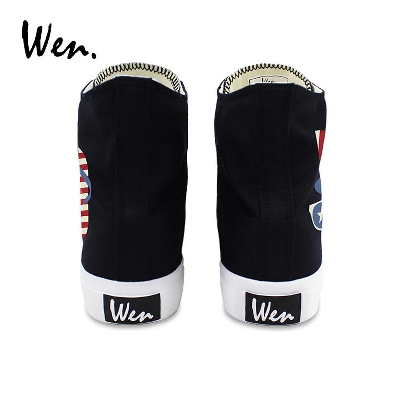 Wen classique noir chaussures étoiles rayures tongs chapeau lunettes de soleil toile baskets femmes haut hommes chaussures vulcanisées Plimsolls - 5