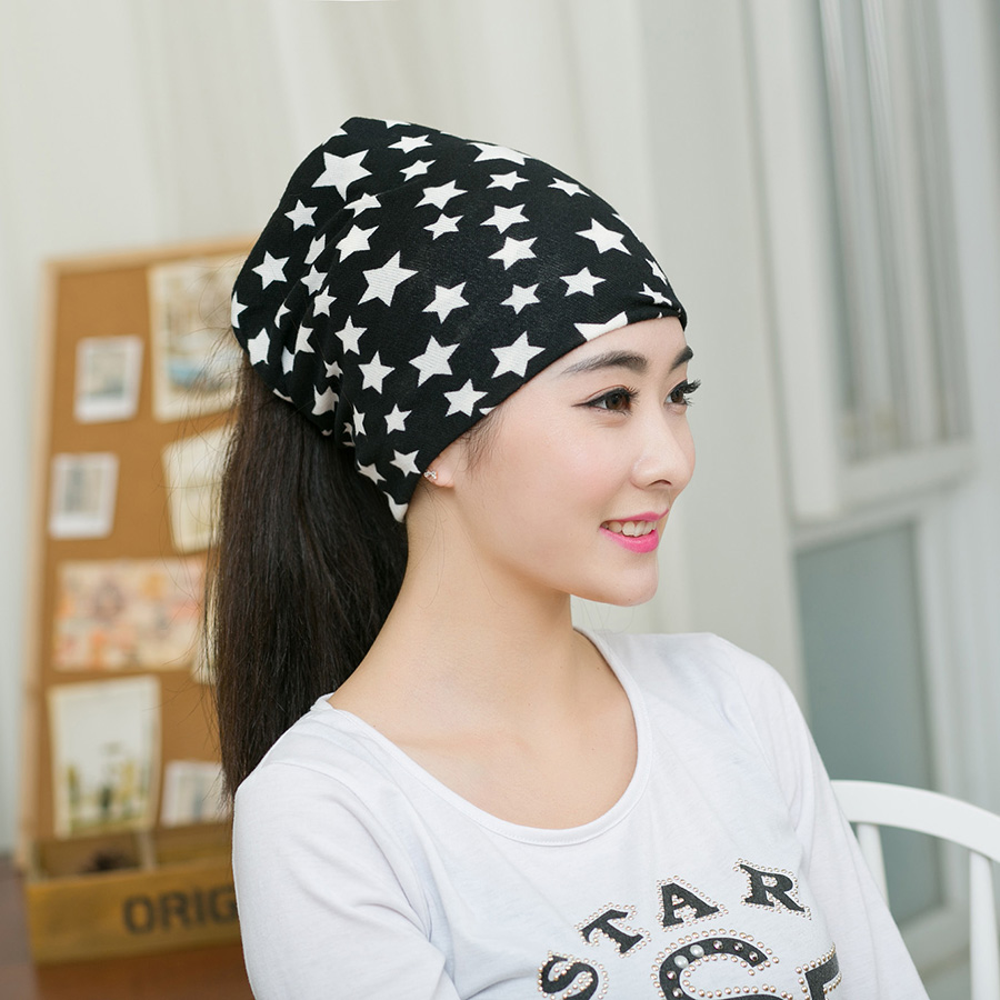 1PC New Arrival Fashion Hip-Hop gorro Printed Star Beanies Multi Purpose Baggy Hat Unisex Scarf Spring&Autumn hats for women
