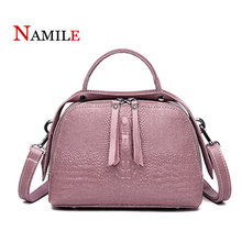 Leather handbags fashion 2019 new luxury crocodile pattern ladies handbags elegant ladies shoulder bag diagonal Boston package ladies new first layer leather crocodile pattern european and american fashion shoulder diagonal portable boston leather handbag