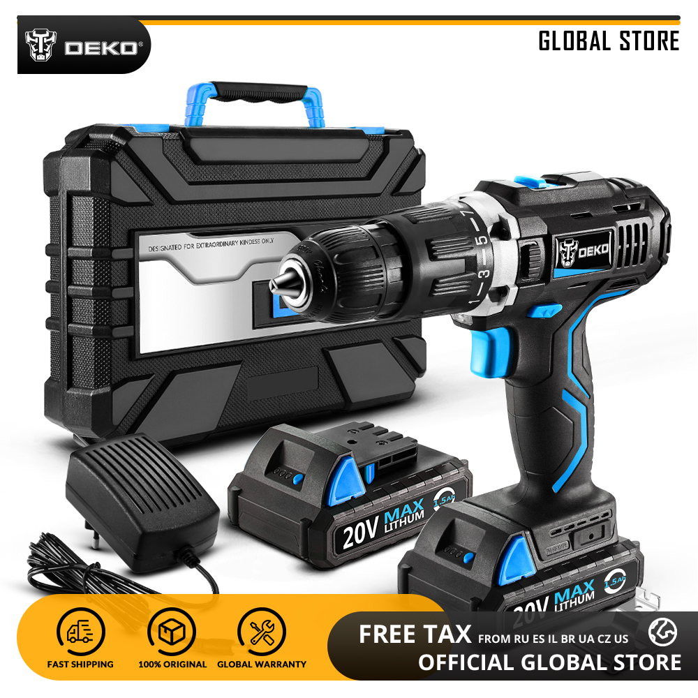 DEKO GCD20DU3 20V MAX Lithium Ion Power Driver Variable Speed Electric Screwdriver LED Impact Cordless Drill