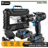 DEKO GCD20DU3 20V MAX Lithium-Ion Power Driver Variable Speed Electric Screwdriver LED Impact Cordless Drill 2 Battery Y Box BMC