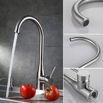 MOIIO Brushed Nickel Kitchen Sink Faucet Brass Mixer Tap/Faucet for Bar Sink with Swivel Spout Aerator Sprayer led color changing waterfall spout bathroom faucet brushed nickel mixer tap