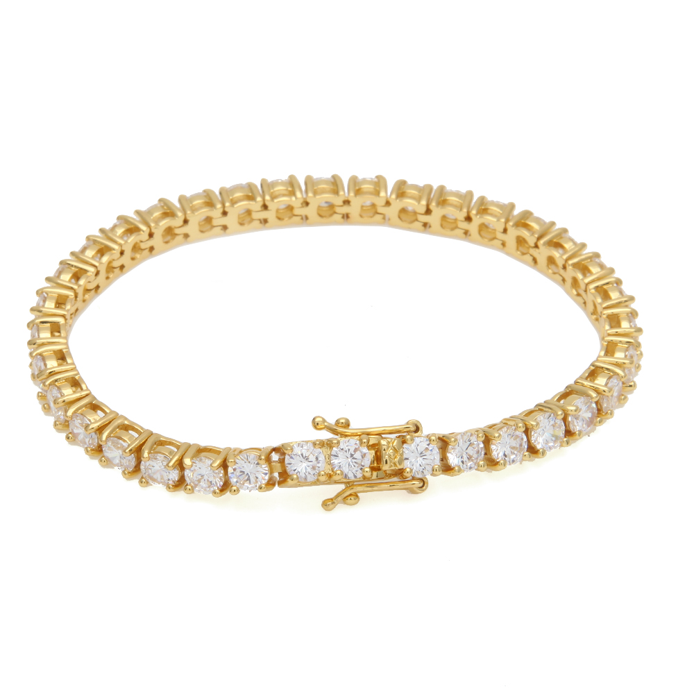 Round Cut Tennis Bracelet 5mm Zirconia Triple Lock Hiphop Jewelry 1 Row Cubic Luxury Crystal CZ Men Fashion Charm Bracelets