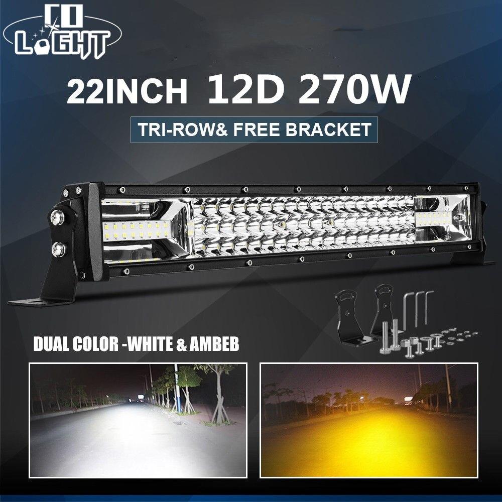 CO LIGHT 22 inch 12D LED Bar Offroad 270W 3 Row LED Work Light Strobe Light