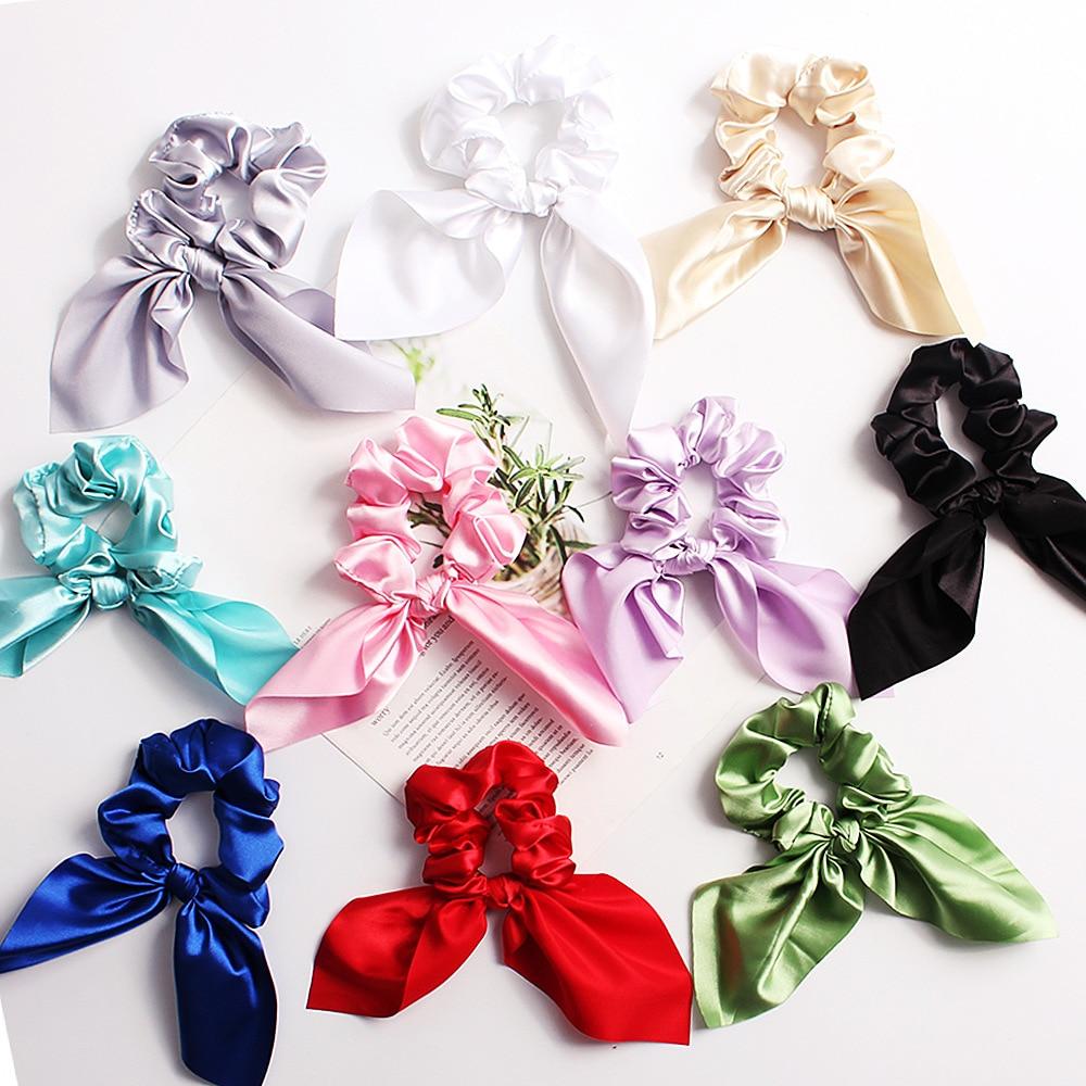 Cute Bunny Ears Scrunchies Lady Stretch Satin Scrunchie Women Elastic Hair Bands Girls   Headwear   Solid Hair Ties Drop Shipping
