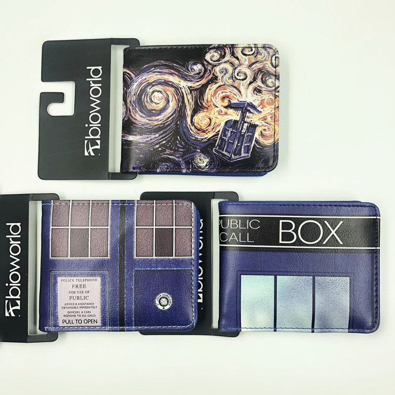 New TV Doctor Who TARDIS Short Wallets Anime Card Holder Purse PU Leather Kids Gift For Boys And Girls