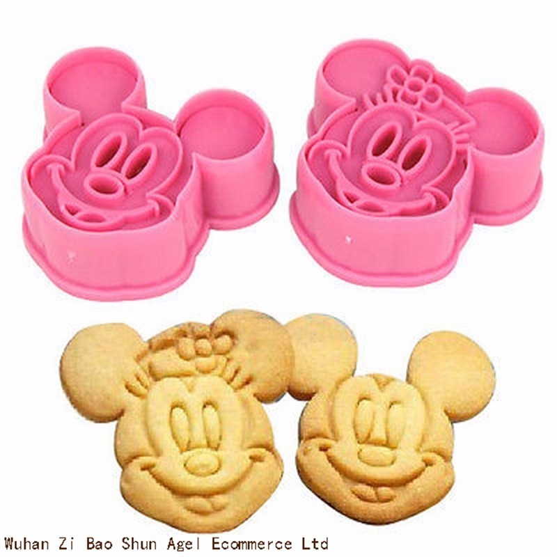 2pcs Mickey Minny Mouse Fondant Cake Cookie Biscuit Cutter Mold Mould Tools Set SF127