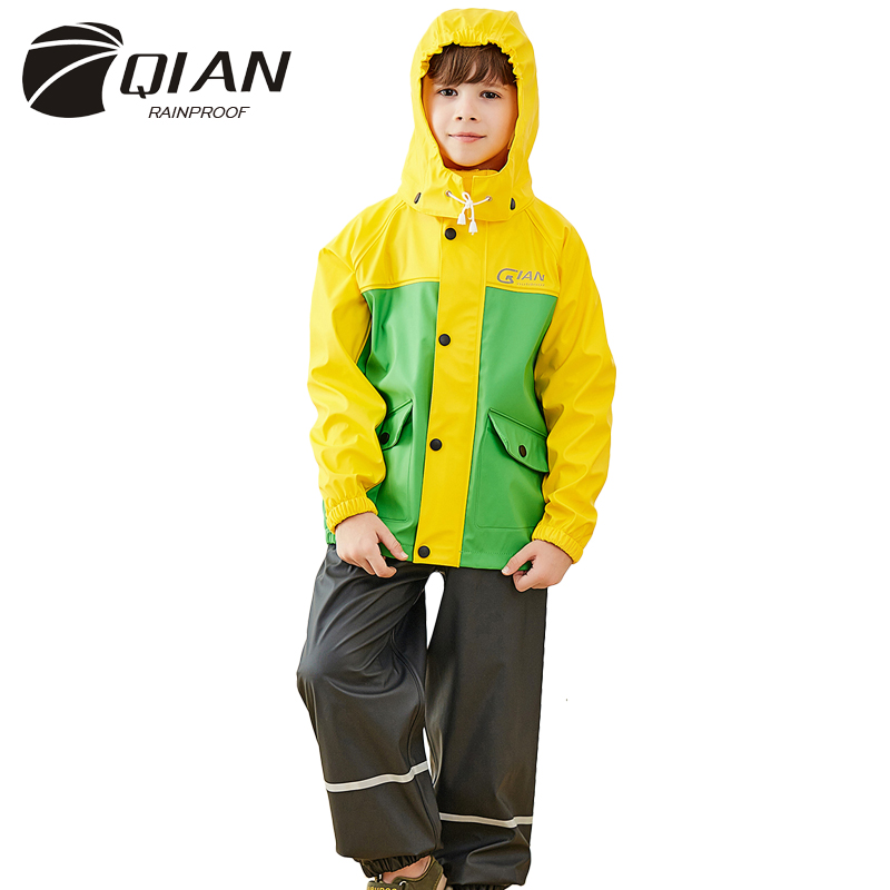 3 10 Years Old High Quality Unisex Waterproof Kids Boys Girls Jumpsuit Raincoat Hooded Rain Coat Hooded Children Raincoat Suit