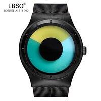 IBSO Mens Watches Top Brand Luxury Steel Mesh Strap Geneva Quartz Sport Watch Men Fashion Blue