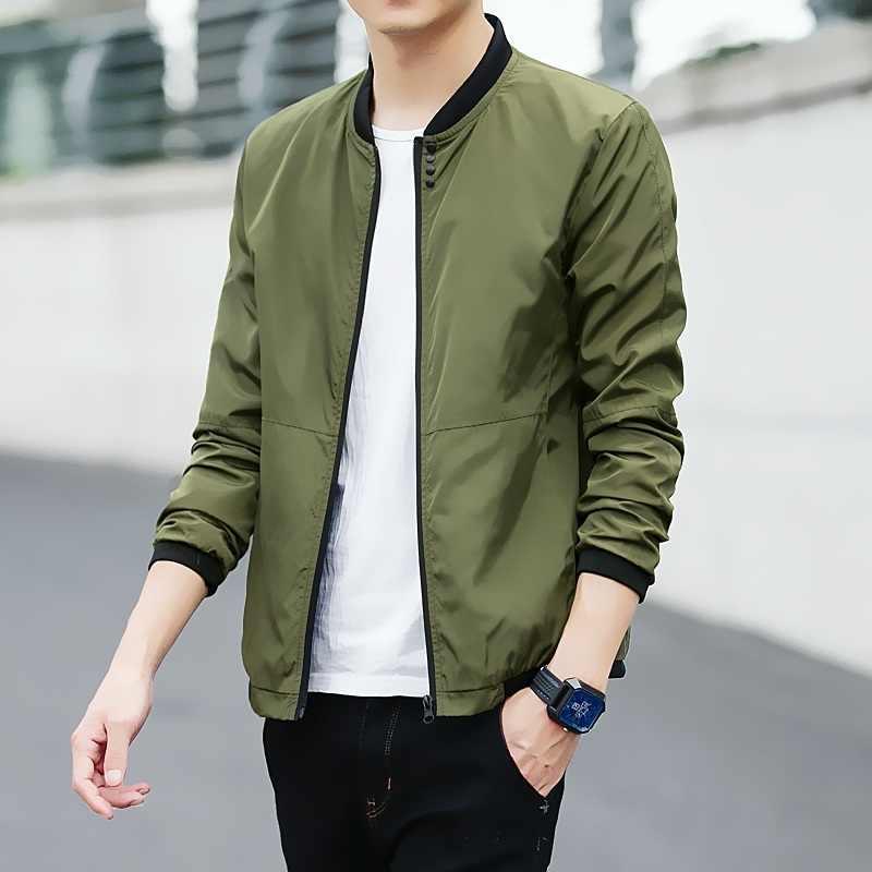 Spring New Jacket Men Slim Fashion Solid Color Baseball Uniform Jacket Man Streetwear Wild Hip Hop Bomber Jacket Male Clothes