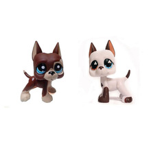 Pet Shop Puppy Blue Brown Flowered Eyes & Brown Dog Great Dane Figure FREE SHIPPING