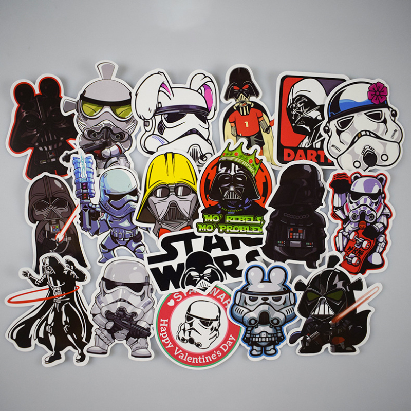 50Pcs / Lot Star Wars Stickers Graffiti Decal For Kid DIY Skateboard Laptop Car Luggage Bicycle Waterproof Mix Sticker