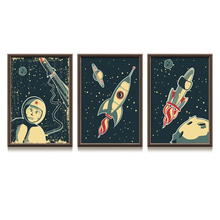 Cartoon Universe Planet Astronaut Print Canvas Painting Nordic Poster Wall Art Space Print Nursery Wall Pictures Kids Room Decor cartoon rocket blast off nursery canvas painting universe black and white art nordic scandinavian poster print kids room decor