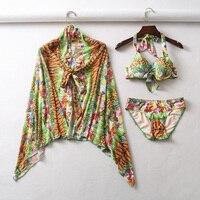 c3d0ecb0d41c6 Women Colorful 3 Piece Sets Swimwear Sexy Beach Swimsuit Flora 3 Pieces  Bikini Set