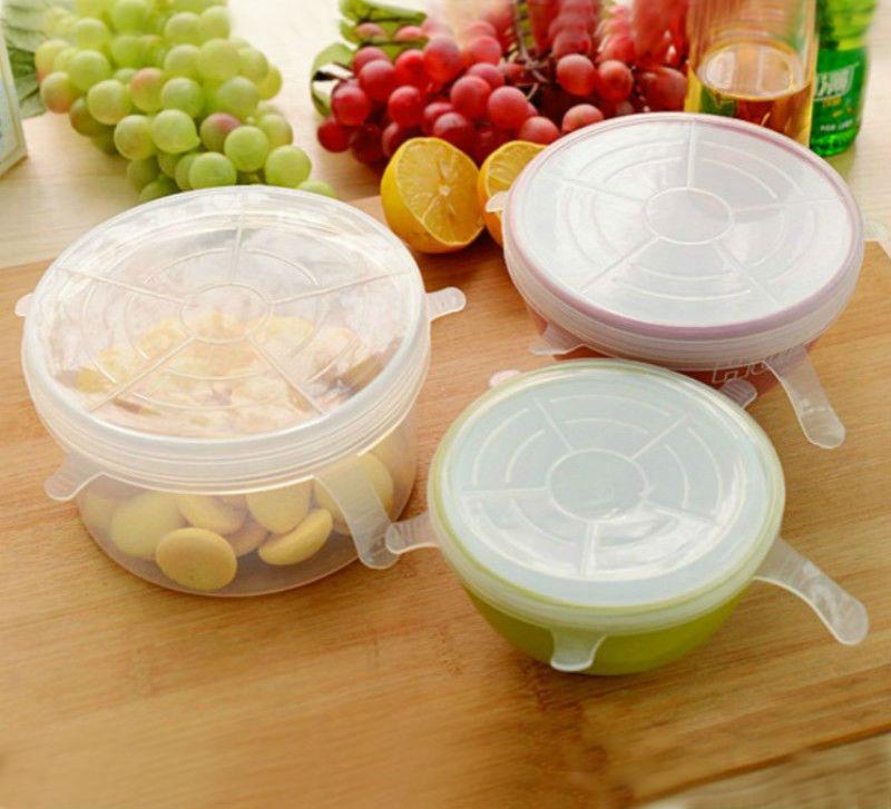 Tapa de silicona reutilizable Estirar la tapa Mantener los alimentos - Organización y almacenamiento en la casa