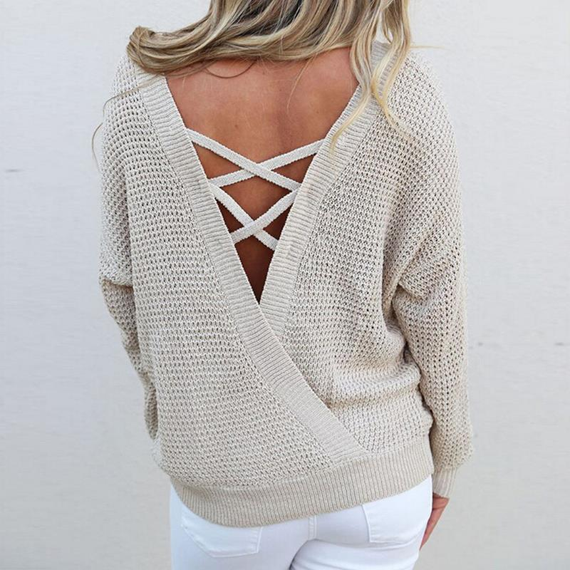 Autumn Women Knitted Sweaters Winter Sexy Backless Lace Up Sweater Fashion Pullovers Long Sleeve Loose Tops WS2199O