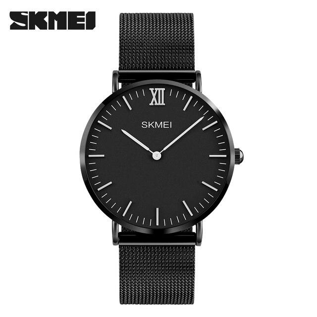 9d940531002 SKMEI Homens Relógio de Luxo Ultra Fino de Aço Inoxidável Mulher Relógio De  Quartzo Relógio Do